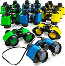 Kicko 12 Toy Binoculars with Neck String 3.5 x 5 Inches - Novelty Binoculars for Children, Sightseeing, Birdwatching, Wildlife, Outdoors, Scenery, Indoors, Pretend, Play, Props, and