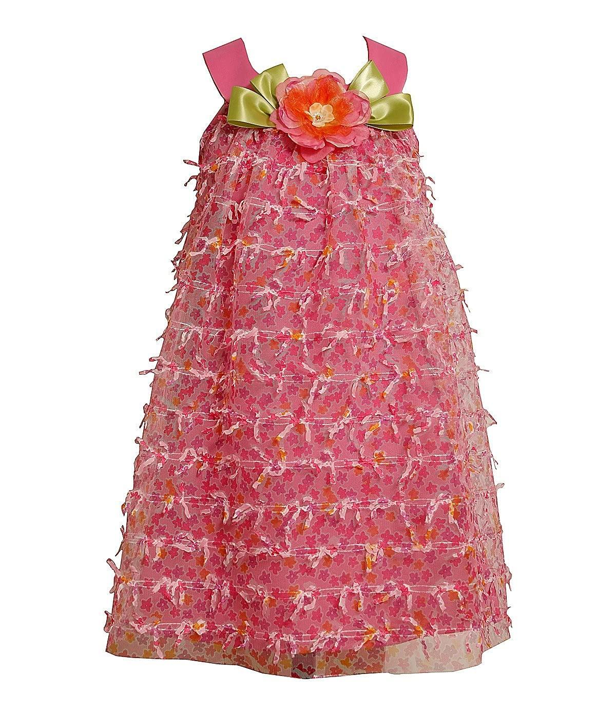 Pink Mesh Bow Dress 4T