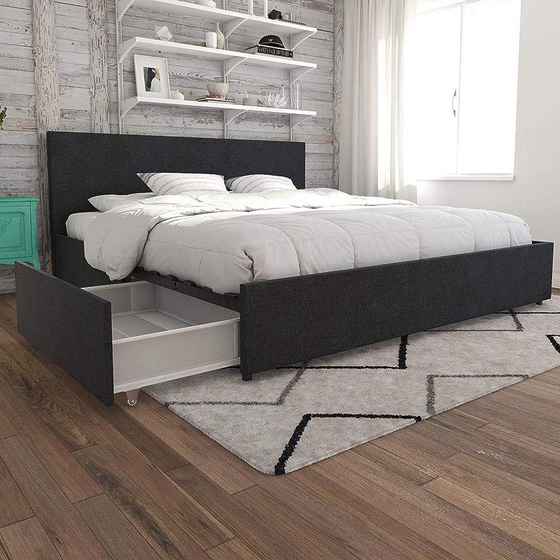 Novogratz Kelly Bed With Storage King Dark Gray Linen