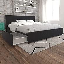 Novogratz Kelly Bed with Storage, King, Dark Gray Linen
