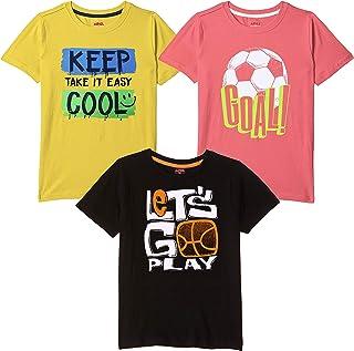 ARIEL Boys' Tshirt Pack of 3 Cotton, Regular Fit, Multicolour