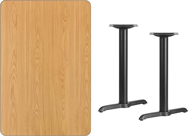 Flash Furniture 30 X 45 Rectangular Natural Laminate Table Top With 5 X 22 Table Height Bases