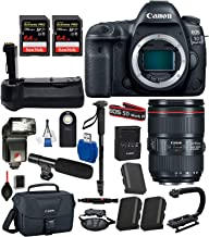 Canon EOS 5D Mark IV Digital SLR Camera with EF 24-105mm f/4L is II USM USA (Black) 19PC Professional Bundle package deal - Battery Grip + SanDisk extreme pro 64gb SD card (2 count) + Canon bag + MORE