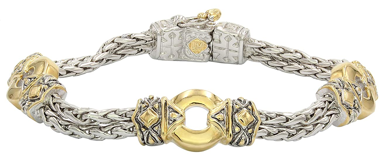 John Medeiros Antiqua Collection Two-Tone Circle Three Station Circle Double Strand Handcrafted Bracelet Made in America