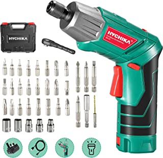 Electric Screwdriver, 6N·m Max Torque HYCHIKA Cordless Screwdriver 2000mAh 3.6V with 36 Accessories, LED Light and Rear Fl...