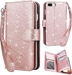 iPhone 8 Plus/7 Plus Case, AICase Glitter Sparkly Bling Cute Shiny PU Leather Flip Folio Wallet Cover with 9 Card Slots Wristlet Magnetic Snap Closure for Apple 5.5''iPhone 7 Plus/8 Plus(Rose Gold)