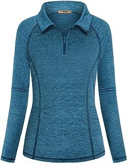 Womens Quarter Zipper Long Sleeve Running Active Tee Workout Polo Shirts