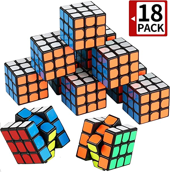 Mini Cube Puzzle Party Toy 18 Pack Eco Friendly Material With Vivid Colors Party Favor School Supplies Puzzle Game Set For Boy Girl Kid Child Magic Cube Goody Bag Filler Birthday Gift