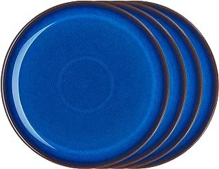 Denby IMP-003B/4 Imperial Set of 4 Coupe Dinner Plate Set, One size, cobalt blue