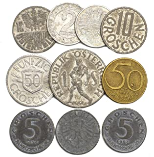 10 Austrian Coins 1 Groschen - 1 Shilling Austria Coins 1946-2001. Perfect Choice for Your Coin Bank, Coin Holders and Coin Album