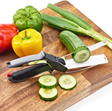 Wazdorf 2-in-1 18/10 Steel Smart Clever Cutter Kitchen Knife Food Chopper and In Built Mini Chopping Board with Locking Hinge; with Spring Action; Stainless Steel Blade (Black)