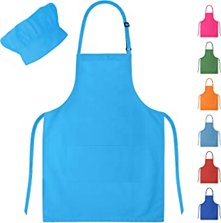Dapper&Doll Sky Blue Kids Chef Hat and Apron for Boys Girls Ages 4-10