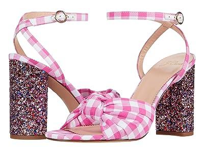 J.Crew Gingham Knotted Stella Sandal (Fuchsia/White) High Heels