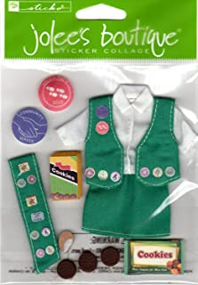 Her Scouting Girl Scout Uniform and Cookies Dimensional Scrapbook Stickers (SPJB098)