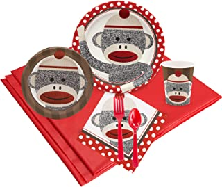Sock Monkey Red Childrens Birthday Party Supplies - Tableware Party Pack (24)