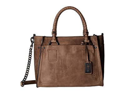 Frye Demi Satchel (Grey Smooth Pull Up) Satchel Handbags