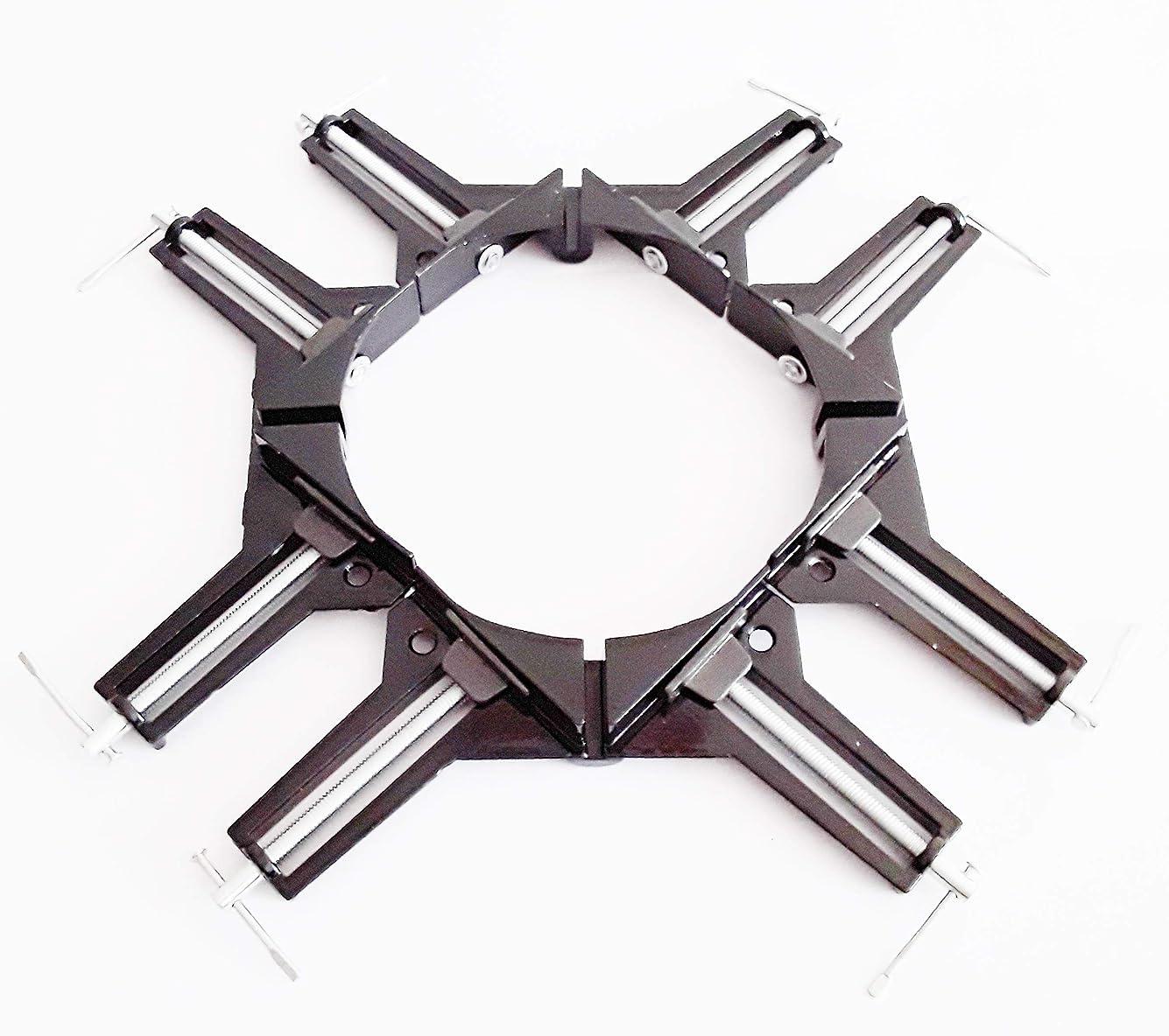 イサカお別れ若者コーナー クランプ 4個 セット 固定 木工 溶接 直角 90 度 DIY 工具 ブラック