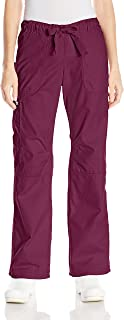 KOI Women's Lindsey Ultra Comfortable Cargo Style Scrub Pants, Wine, Medium