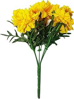Flower Garland,Marigold Flowers Decor 16 Inces//Pack of 3 NAVA CHIANGMAI Thai Artificial Marigold Flowers,Artificial Yellow Marigold Bunch,Yellow Flowers Marigold Yellow