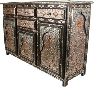 Casa Moro | Aparador de madera maciza con adornos hechos a mano naranja Genna grande estilo marroquí oriental muebles 4 ...