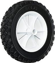 Shepherd Hardware 9613 8-Inch Semi-Pneumatic Rubber Replacement Tire, Plastic Wheel, 1-3/4-Inch Diamond Tread, 1/2-Inch Bore Offset Axle,White