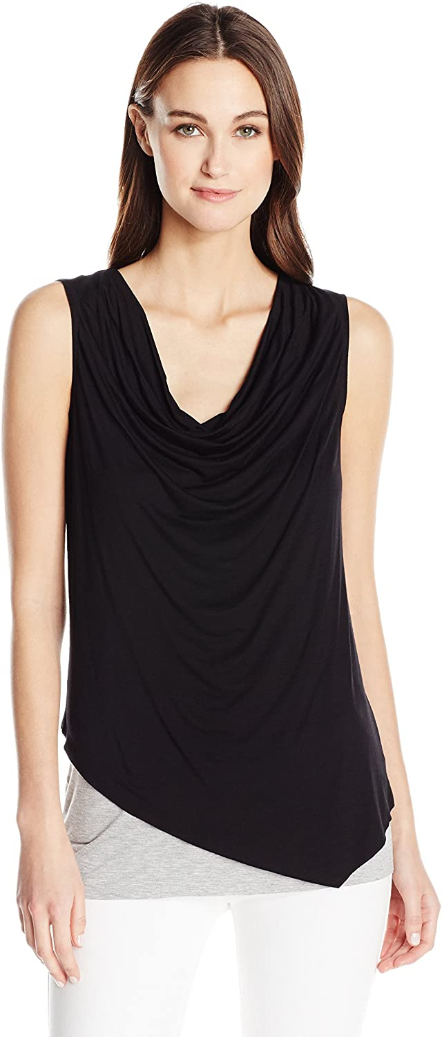 Three Dots Womens Double Jersey Assymetric Cowl Tank TShirt