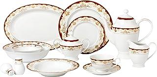 Lorren Home Trends 57 Piece `Mabel` Bone China Dinnerware Set (Service for 8 People), Burgundy