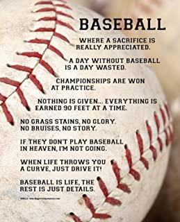 """Posters and Prints by Magnetic Impressions Unframed Baseball Player Sayings 8"""" x 10"""" Sport Poster Print"""