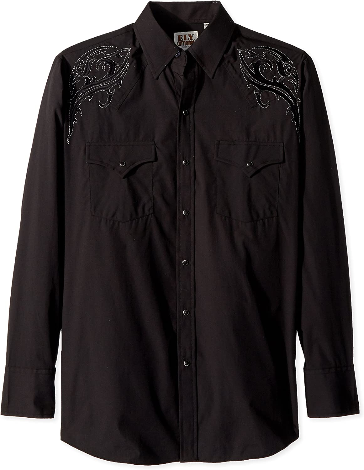 ELY CATTLEMAN Men's Long Sleeve Solid Shirt with Scroll Tonal Embroidery