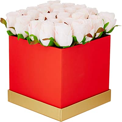 Fourwalls Artificial Rose Flowers in a Box for Valentines Day Gift (25 Flower in Box, 20 cm Tall, Red and Light/Pink)