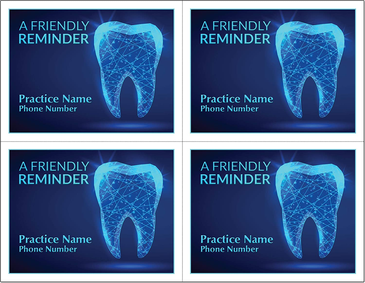 Cash special price Ranking TOP18 4 Up Laser Reminder Postcards front Personalized for Dental.