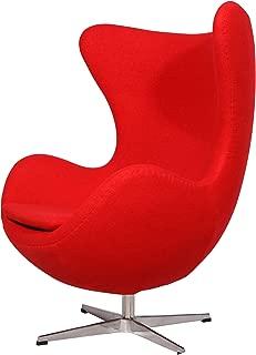 MLF Arne Jacobsen Egg Chair (5 Colors). Premium Cashmere & Hand Sewing. High Density Foam. 4 Star Satin Polished Aluminum Base Strong Fiberglass Inner Shell.(Red)