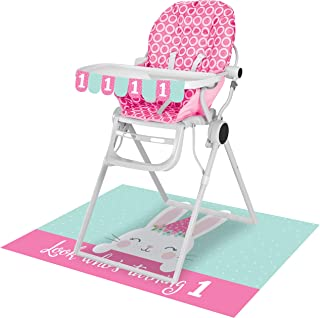 Creative Converting 1st Birthday Bunny High Chair Kit, 26-Inch x 3.5-Inch Size, Multicolour