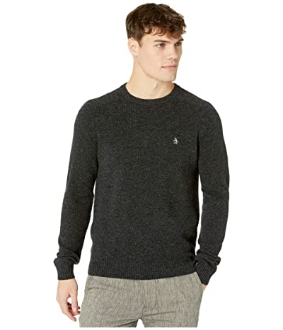 Original Penguin Lambswool Crew Neck Long Sleeve Sweater (Dark Charcoal Heather) Men