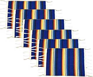 WAZAIGUR Colorful Fringed Mexican Style Placemats Set of 6 Cotton Woven Place Mats for Kitchen Dinning Table Mats Blue