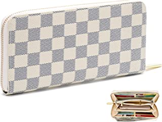 Women's Checkered Zip Around Long Wallet and Phone Clutch - RFID Blocking with Card Holder