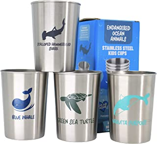 Stainless Steel Cups for Kids Metal Tumblers for Toddlers and Babies Party Favors 4 pack 10oz - Endangered Ocean Sea Anima...