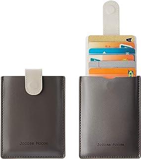 Jocose Moose Card Holder Wallet, Slim Credit Card Holder Leather Wallets RFID Minimalist Front Pocket Wallet for Men Women