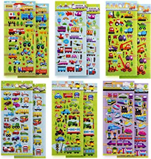 SAVITA 3D Stickers for Kids & Toddlers, 400+ Cars and Trucks Stickers, 3D Puffy Stickers Including Cars, Trains, Airplanes, Fire Trucks, Helicopters, Motorcycles, School Buses, Spaceships and More