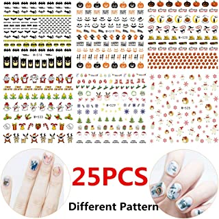 StyleZ 25 Sheets Nail Art Stickers Christmas Halloween Party Multi Different Styles Pattern DIY Nail Art Decals