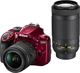 Nikon D3400 DSLR Camera w/AF-P DX NIKKOR 18-55mm f/3.5-5.6G VR and 70-300mm f/4.5-6.3G ED Lens, 16GB Memory Included - Red