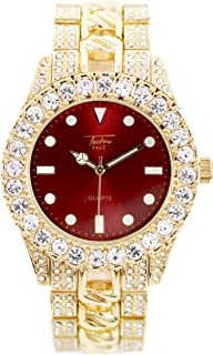 Mens 44mm Solitaire Bezel and Maroon Dial Gold Watch with Metal Band Strap (Resizable Links) - Quartz Movement