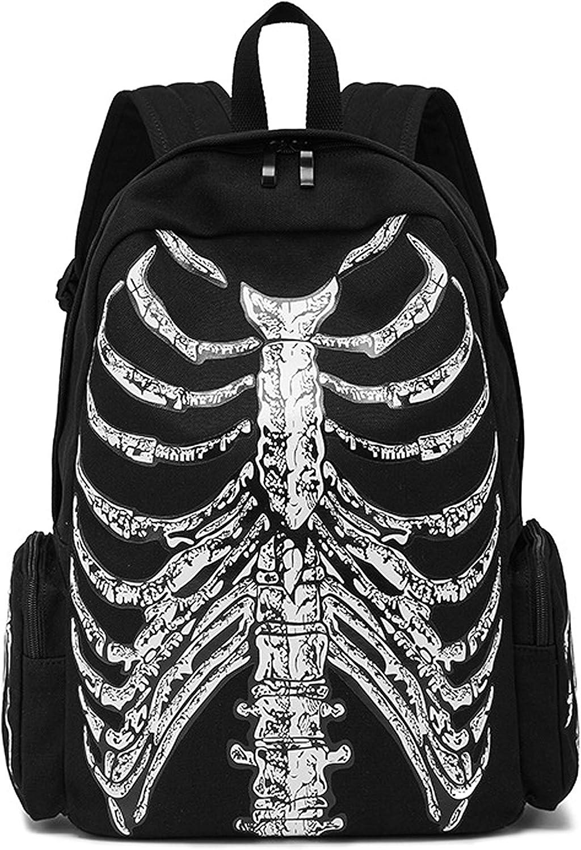 Men's/Women's Skull Printing Backpack Skeleton Messenger Rucksack Satchel Tote Crossbody Bag With Hat (Style1)