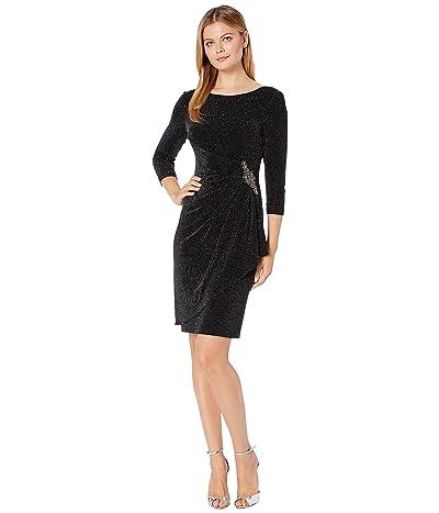 Alex Evenings Short Metallic Knit Sheath Dress (Black/Silver) Women
