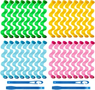 32 Pieces Hair Curlers 11.8 inch Heatless Curlers Wave Formers Spiral Hair Curls Styling Kit Magic Hair Curler with 2 Piec...