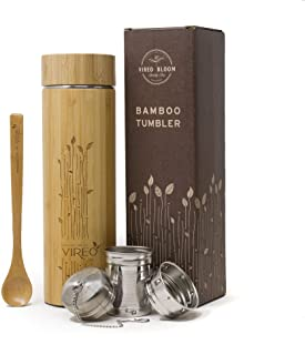 Vireo Flask Tea Infuser Bottle - Stainless Steel Thermos 480ml - Bamboo Vacuum Travel Mug - Hot Cold ICY Tea Coffee Eco-Fr...