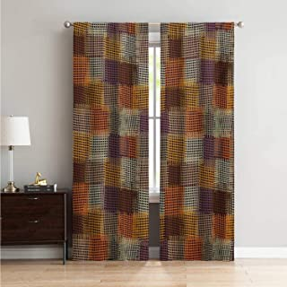 for Sliding Glass Door Curtains for Bedroom Geometric,Grunge Checkered and Striped Quilt Pattern Mottled Digital New Retro Design,Caramel Orange W108 x L96 Inch