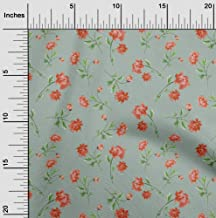 oneOone Cotton Silk Dusty Green Fabric Flower & Leaves Watercolor Sewing Material Print Fabric by The Meter 42 Inch Wide