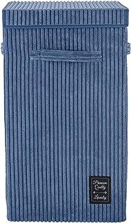 WENKO Panier à linge Cora Bleu, panier à linge moderne en velours côtelé moelleux, avec couvercle à fermeture auto-agrippa...