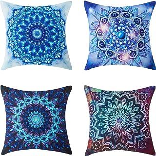 comprar comparacion Topfinel Fundas cojín Colorido Lona de Almohadas Creativa para el sofá Juego de 4 45x45cm Caleidoscopio